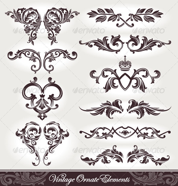 Vector set of calligraphic design elements - Flourishes / Swirls Decorative