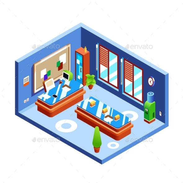 Office Isometric Vector Illustration Cross-section - Conceptual Vectors