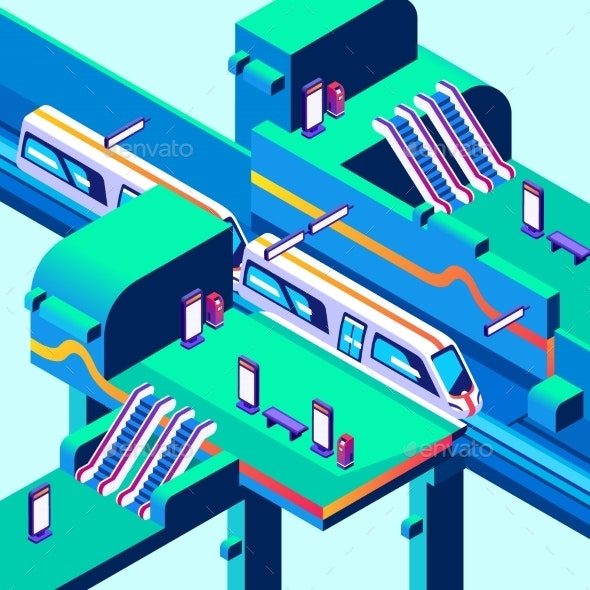 Metro Train Station Vector Isometric Illustration - Technology Conceptual