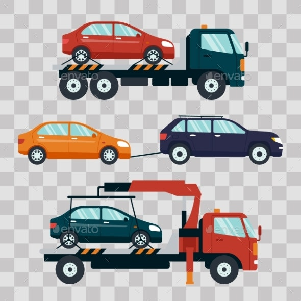 Set of Cars Evacuating Broken or Damaged Auto on - Man-made Objects Objects