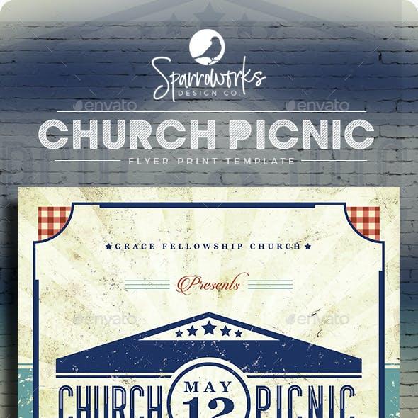Retro Vintage Church Picnic Flyer Print Template