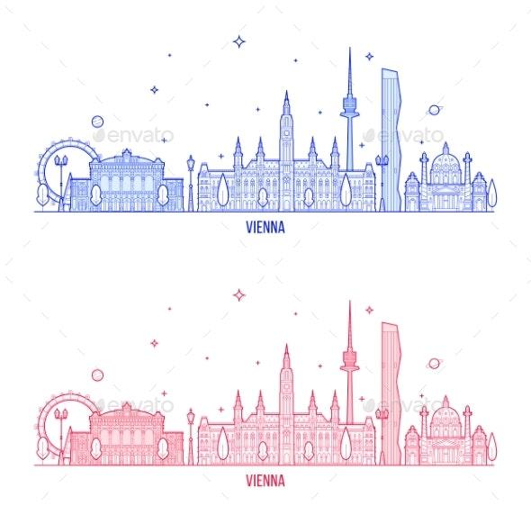 Vienna Skyline Austria City Buildings Vector - Buildings Objects