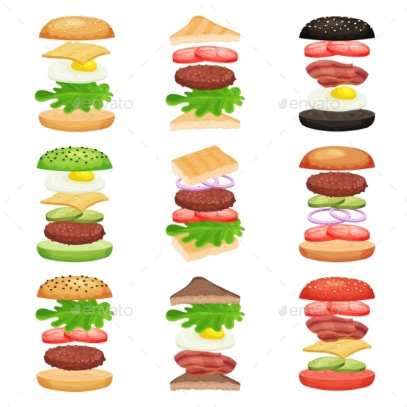 Set of Burgers and Sandwiches with Flying - Food Objects
