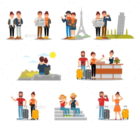 Flat Vector Set of Tourists with Suitcases, Maps