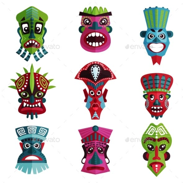 Flat Vector Set of Colorful Zulu Masks