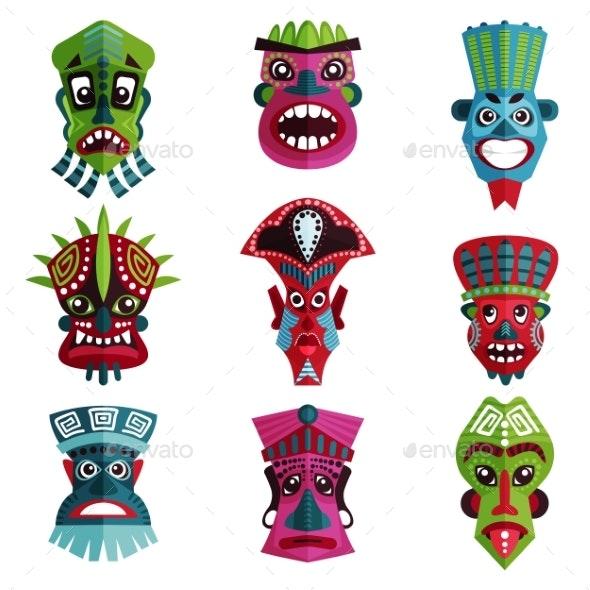 Flat Vector Set of Colorful Zulu Masks - Miscellaneous Vectors