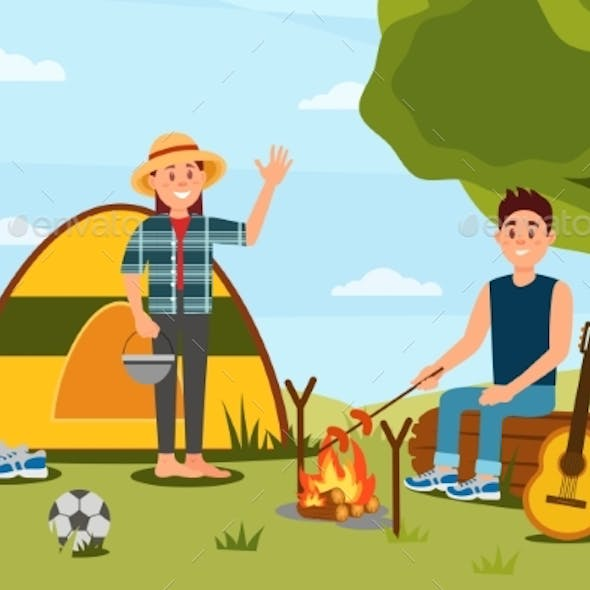 Young Couple in Camping. Woman Waving Hand, Man