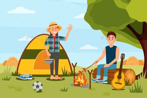 Young Couple in Camping. Woman Waving Hand, Man - Nature Conceptual
