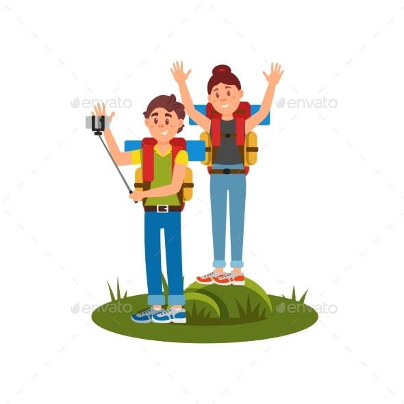 Young Couple of Tourists Making Selfie Using