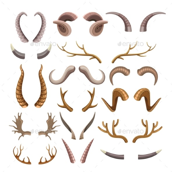 Branchy and Sharp Horns of Wild Animals Set - Animals Characters