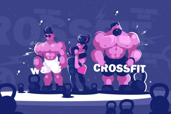 Man and Woman Training Cross Fits - People Characters