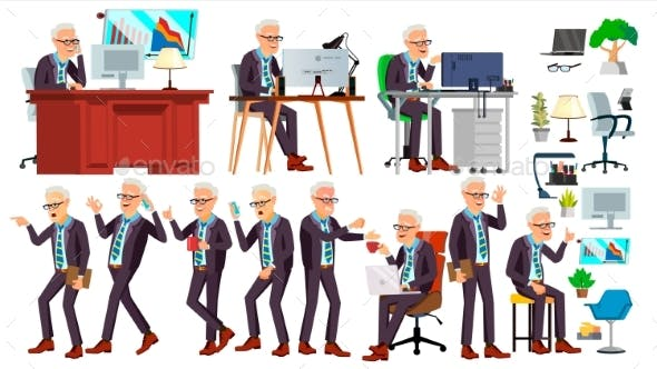 Old Office Worker Vector. Face Emotions, Various