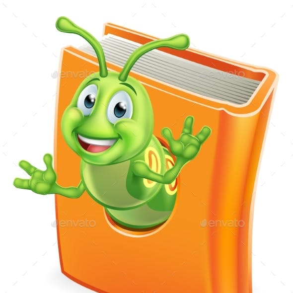 Bookworm Caterpillar Worm in Book