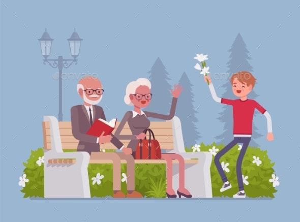 Grandparents and Grandson in Park - Landscapes Nature