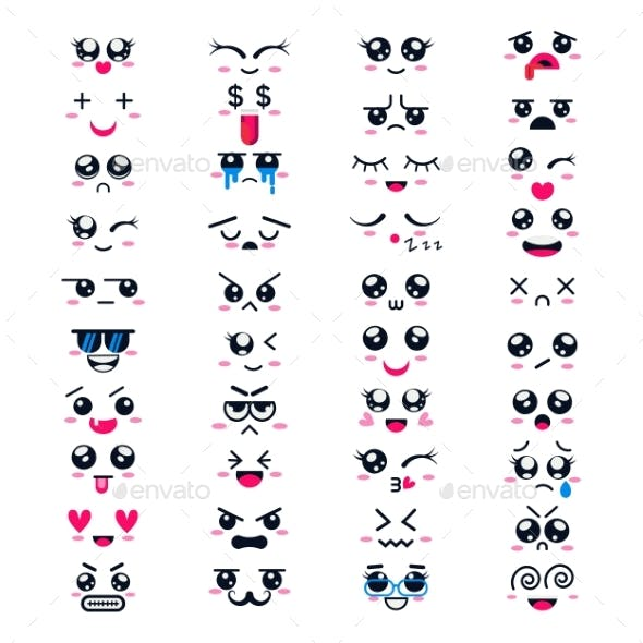 Kawaii Vector Cartoon Emoticons