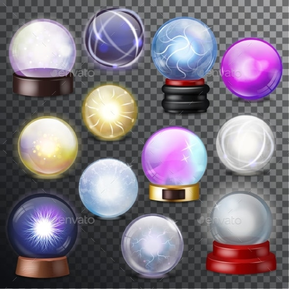 Magic Ball Vector Magical Crystal Glass Sphere - Man-made Objects Objects