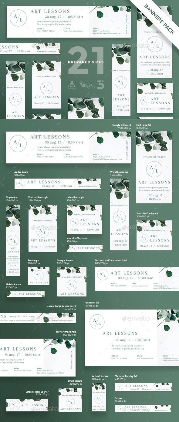 Art Lessons Banner Pack - Banners & Ads Web Elements