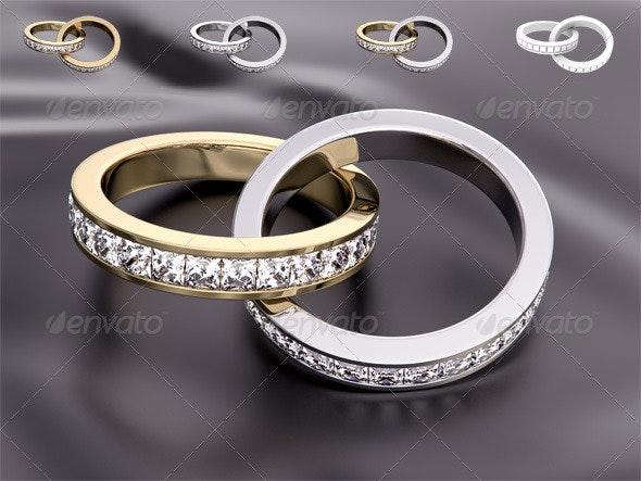 Wedding Diamond Rings - Objects 3D Renders
