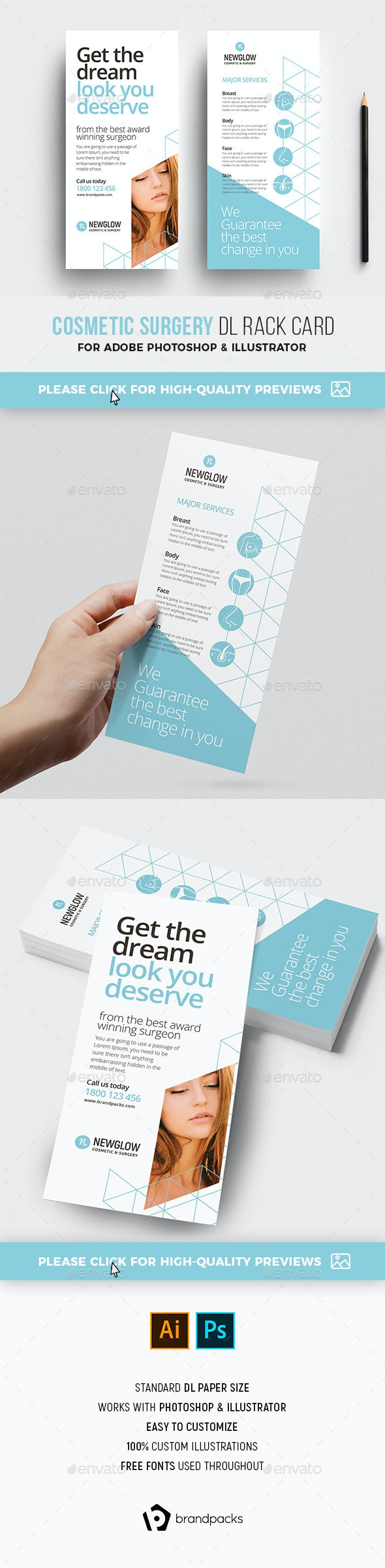 Cosmetic DL Rack Card Template - Corporate Flyers