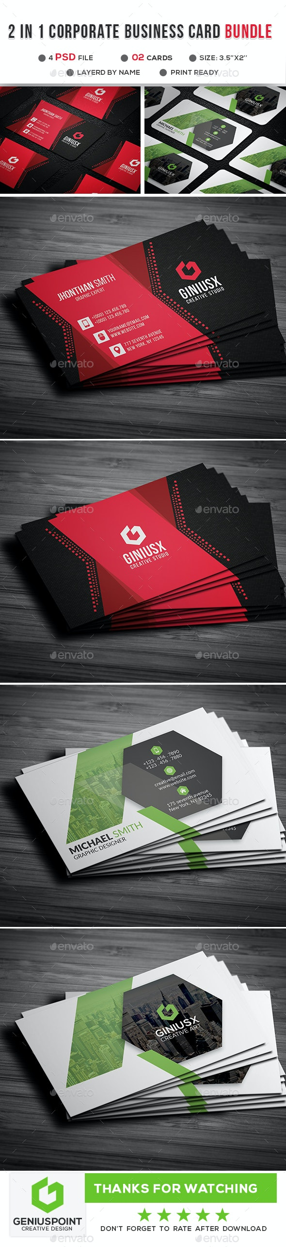 2 in 1 Corporate Business Card - Corporate Business Cards