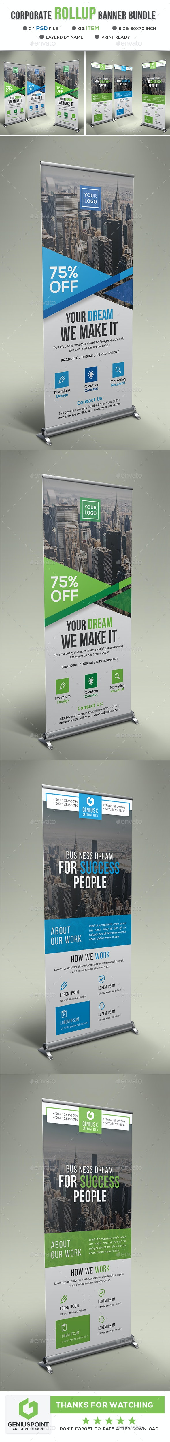 Corporate Roll Up Banner Bundle - Signage Print Templates