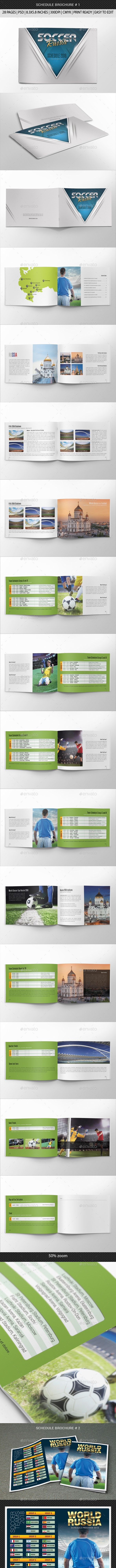Russia World Soccer Cup 2018 Schedule Bundle - Brochures Print Templates