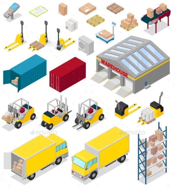 Warehouse Vector Distribution Storage Industry - Man-made Objects Objects