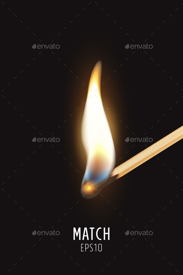 Vector Realistic Burning Match Stick Icon - Man-made Objects Objects