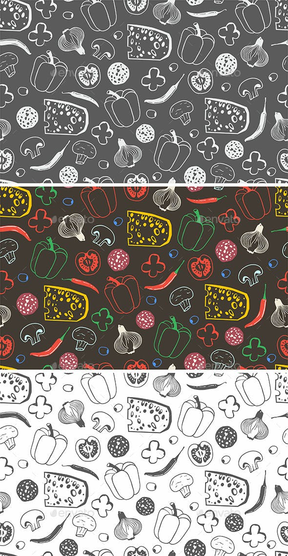 Seamless Pattern with the Ingredients for Pizza