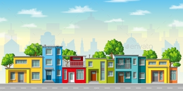 Modern Family Houses - Buildings Objects