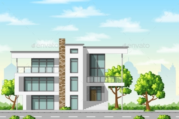 Modern Family Houses With Trees - Buildings Objects