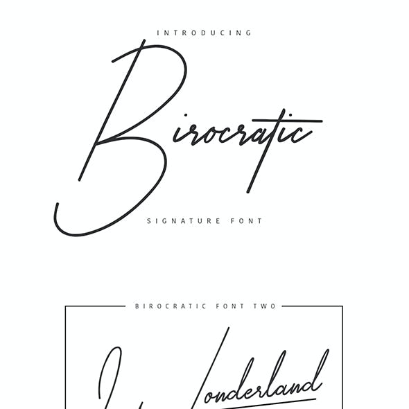 Birocratic Signature Typeface by maulanacreative
