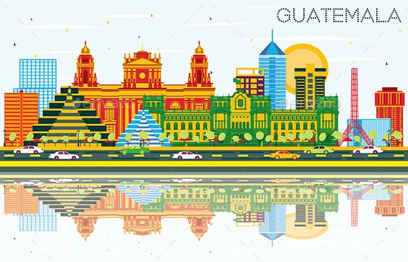 Guatemala Skyline with Color Buildings