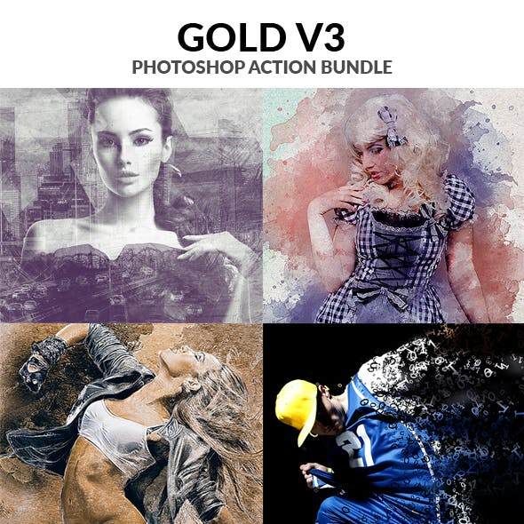 Gold V3 Photoshop Action Bundle