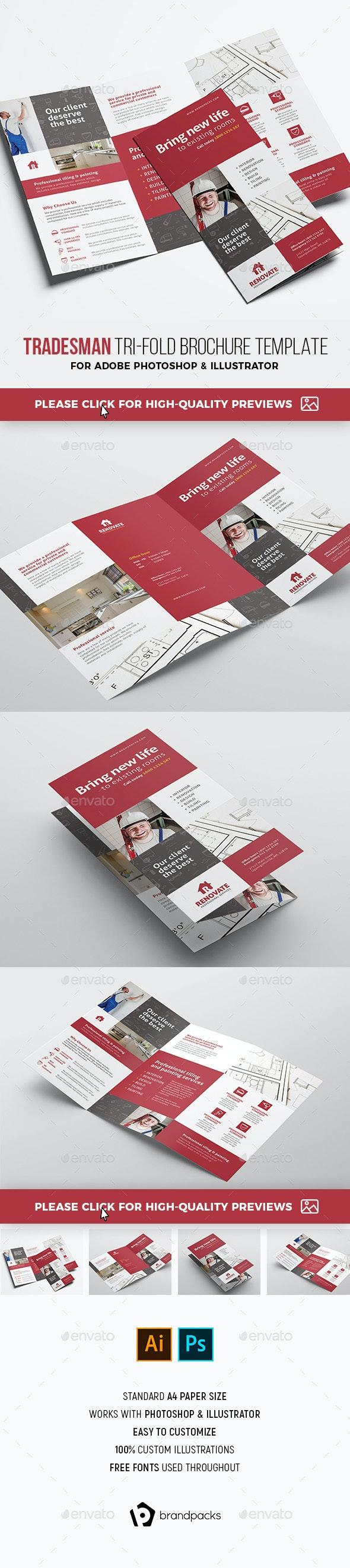 Tradesman Tri-Fold Brochure Template - Corporate Brochures