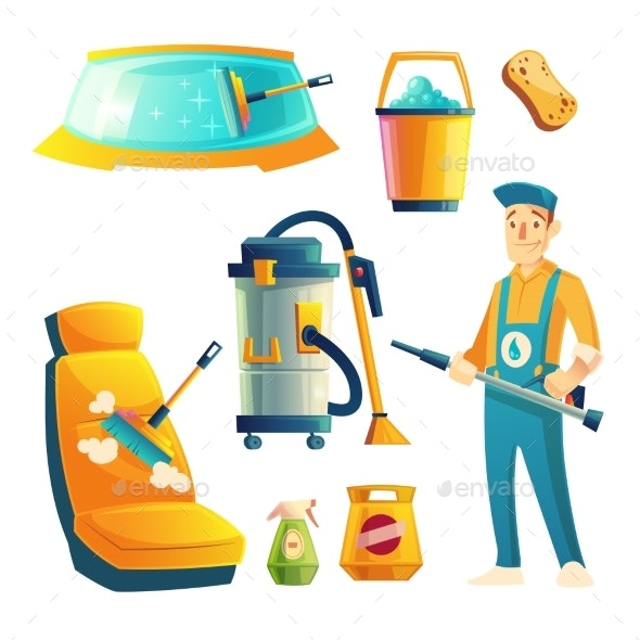Vector Car Washing Service with Cartoon Character - People Characters