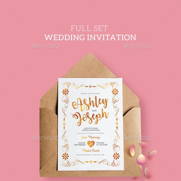 Gold and White  Wedding Invitation Full Set