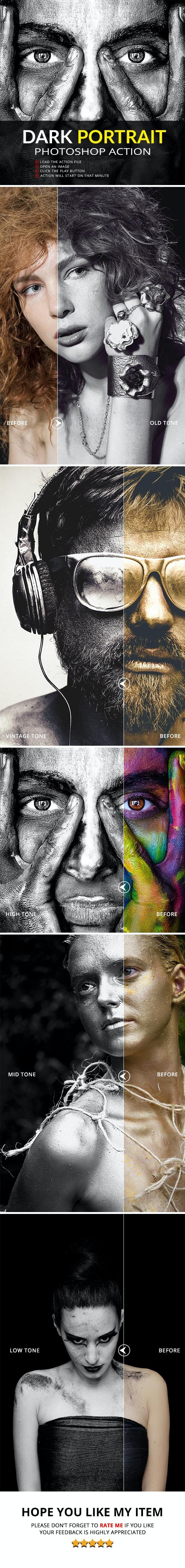 5 Dark Portrait Photoshop Action - Photo Effects Actions