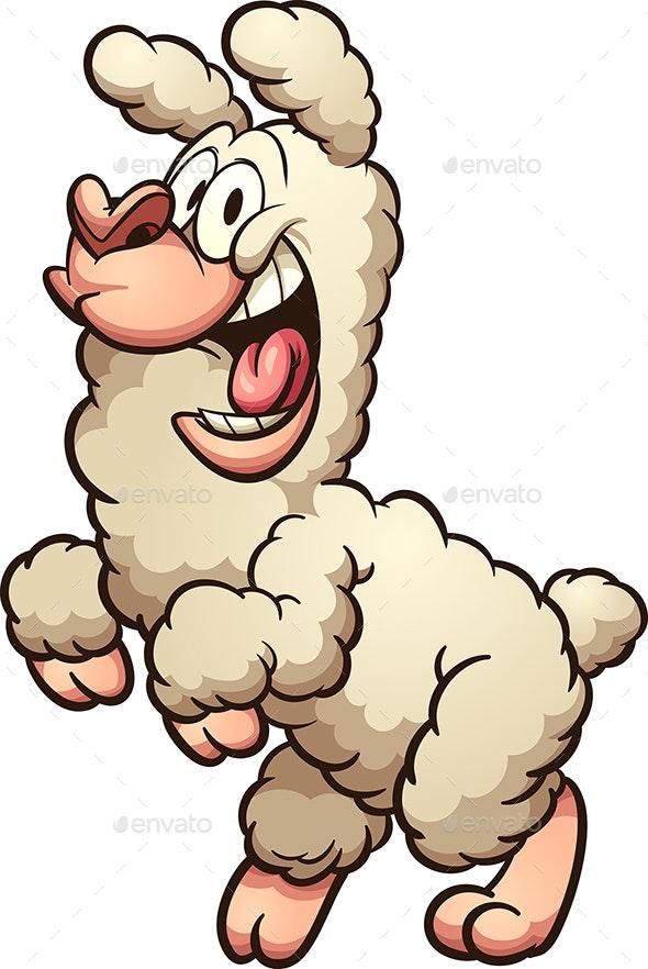 Happy Cartoon Llama - Animals Characters
