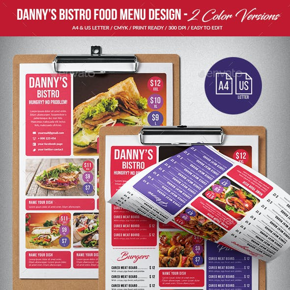 Dannys Bistro Food Menu Design A4 & US Letter