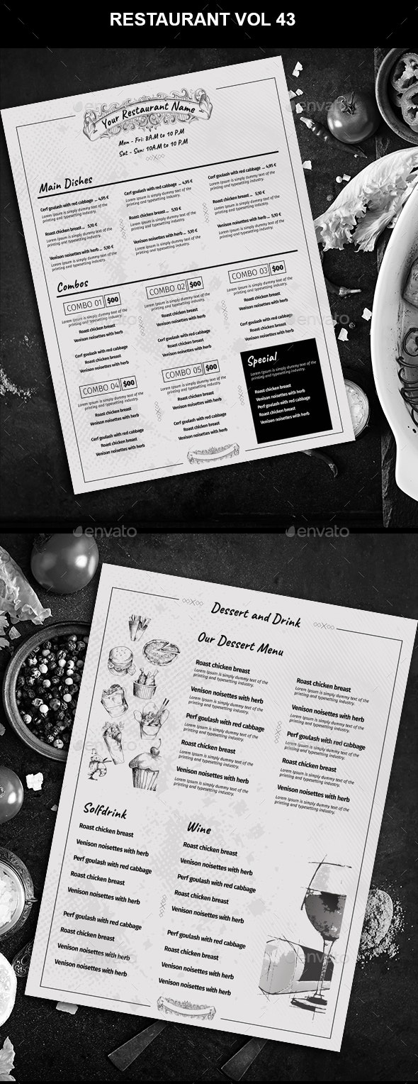 Restaurant Menu vol 43 - Food Menus Print Templates