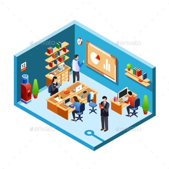 Vector Isometric Office Room Coworking - Miscellaneous Vectors
