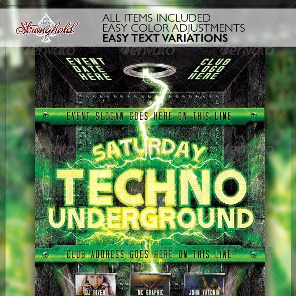 Techno Event Flyer Template