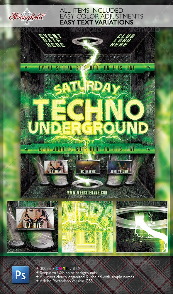 Techno Event Flyer Template - Clubs & Parties Events