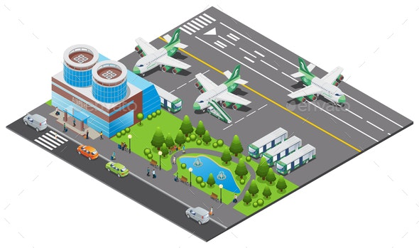 Isometric Airport Template - Miscellaneous Vectors