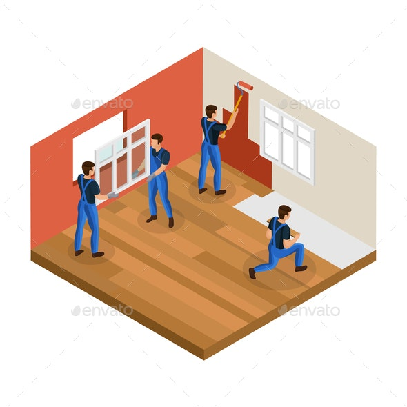 Isometric Home Renovation Concept - People Characters
