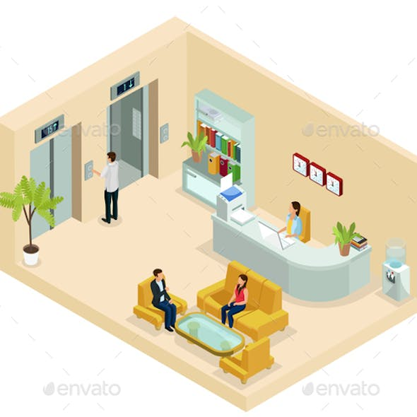 Isometric Office Hall Concept