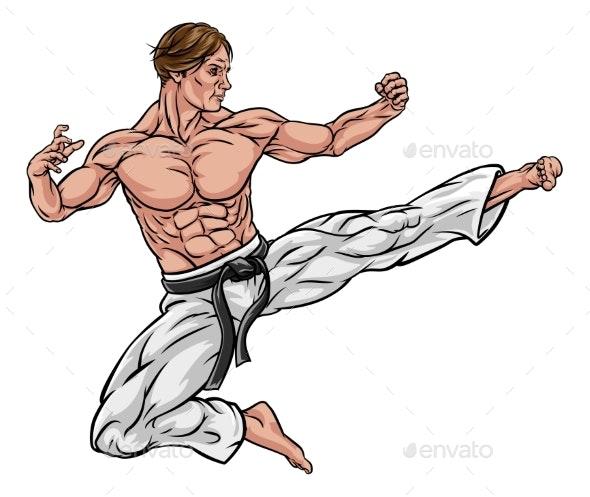 Karate or Kung Fu Flying Kick - Sports/Activity Conceptual