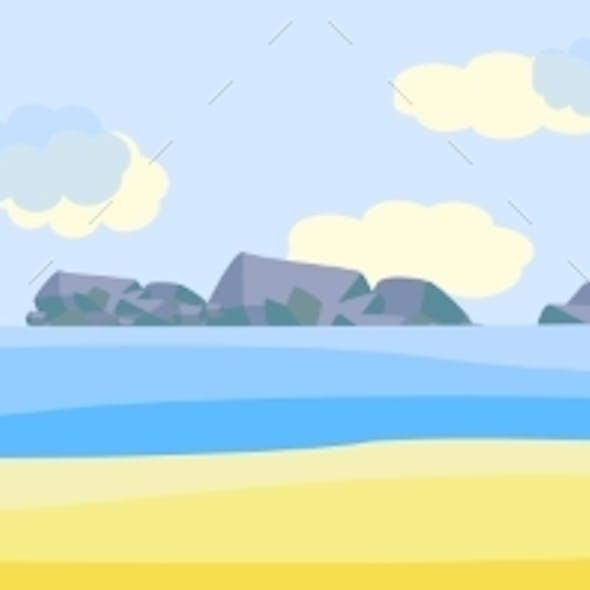 Vector Tropical Beach Seaside Party Landscape