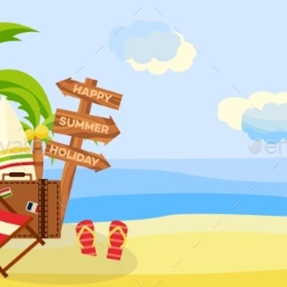 Summer Beach Vacation Horizontal Banner